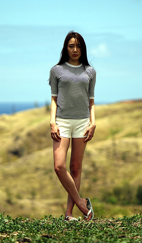 Stripe top (navy / light grey)